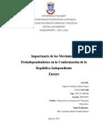 Capraro Khrys. ENSAYO Importancia de Los Movimientos Preindependentistas en La Conformación de La República Independiente