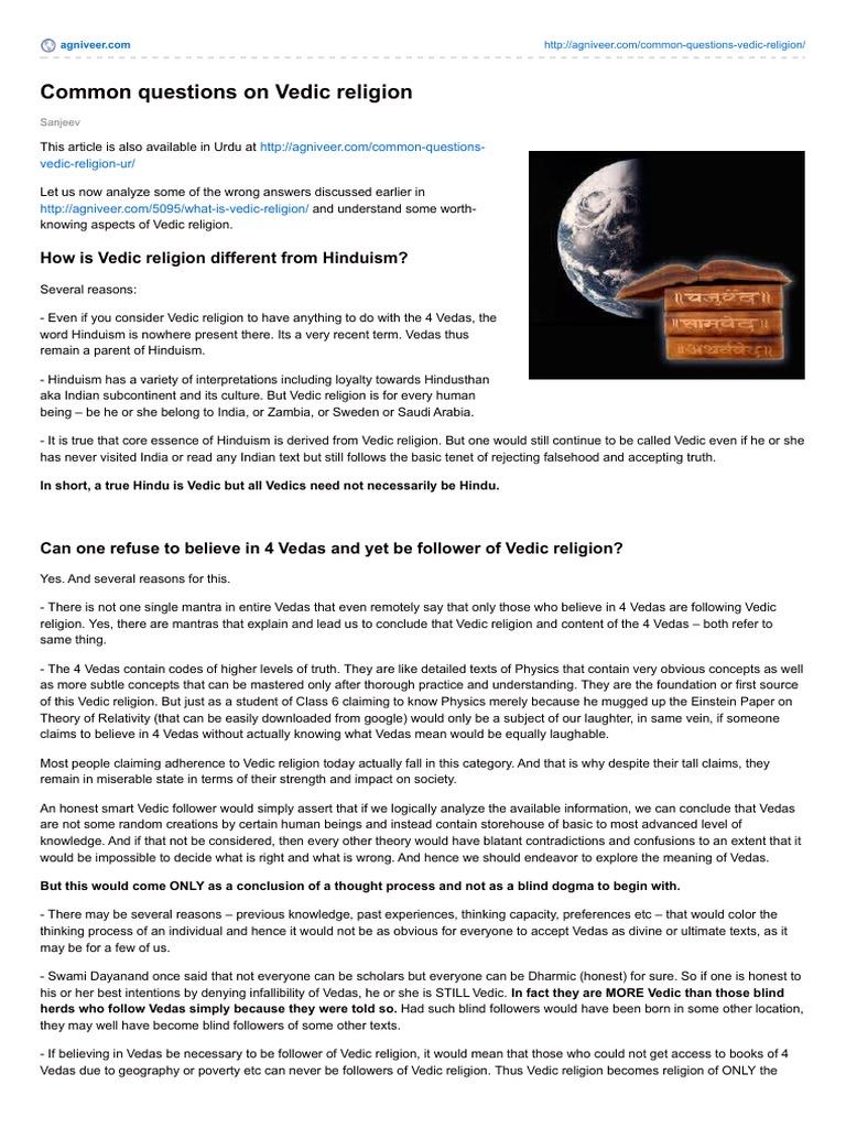 vedic religion was