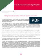 Résolution du Bureau national du 8 juillet 2014