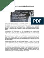 Normas Internacionales Sobre Baterías de Plomo Acido