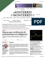 07-07-14 Buscan que certificación de profesionistas sea obligatoria