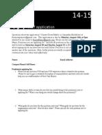 FYP Staff Application 14-15