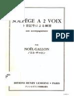 Gallon - Solfège a 2 voix sans acompagnement 1/1