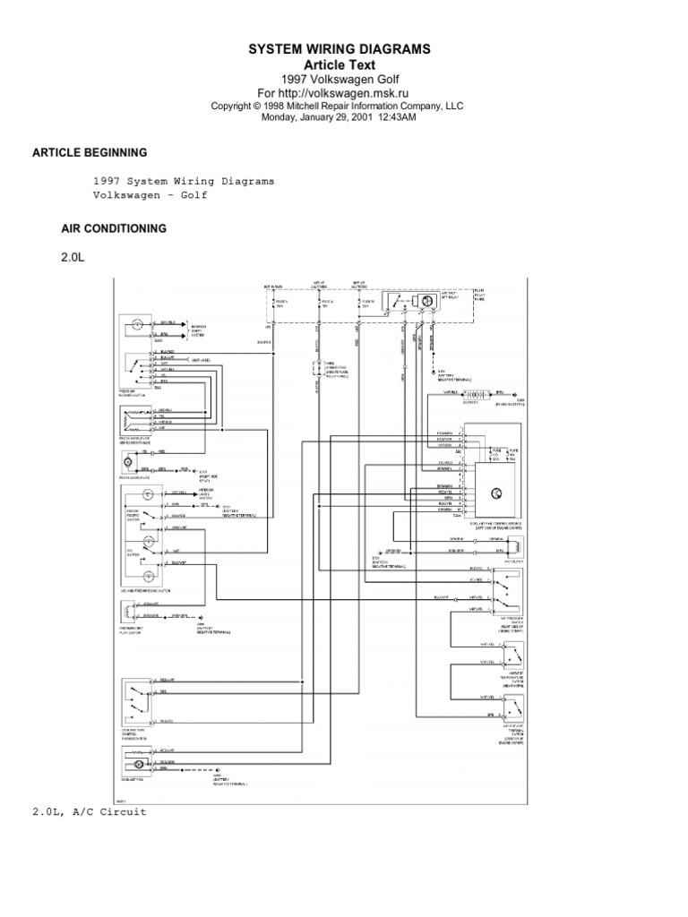 Volkswagen Golf 1997 English Wiring Diagrams