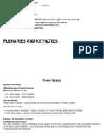 Plenaries and Keynotes
