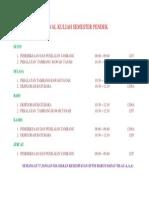 Jadwal Kuliah Semester Pendek