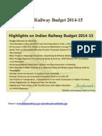Indian Railway Budget 2014-15
