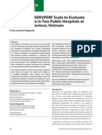 Applying the SERVPERF Scale to Evaluate Quality of Care in Two Public Hospitals at Khanh Hoa Province, Vietnam(Final)