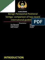 Benign Paroxysmal Positional Vertigo Journal Comparison of Two Recent International Guidelines.ppt