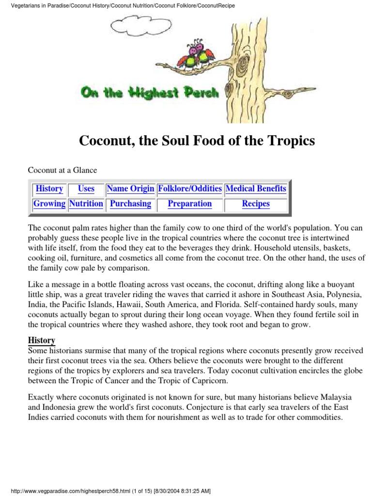 990232e238ad5b Coconut the Soul Food of the Tropics and Vegetarian Recipes 2004 ...