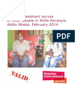 Needs assessment survey of older people in Kolfe Keranyio, Addis Ababa, February 2014