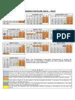 Cuadro Calendario Escolar 2014-2015