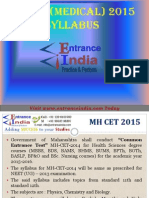 MH CET Medical Syllabus by Entranceindia