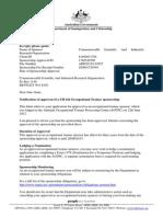 Sponsor Approval Letter