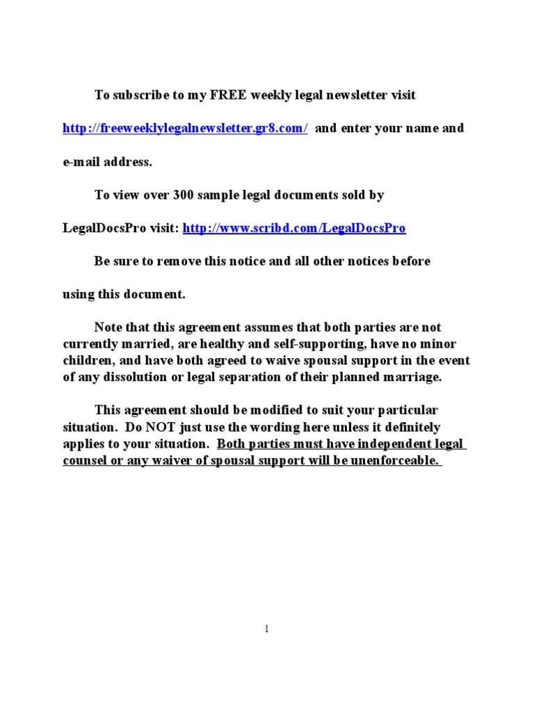 Sample Premarital Prenuptial Agreement for California – Sample Prenuptial Agreement