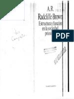 Radcliffe Brown - Estructura Y Función en La Sociedad Primitiva
