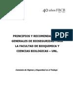 Principios y Recomnedaciones Grales Bioseguridad