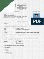 PBL Admit Card 14166