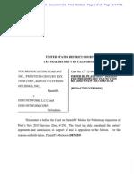 Fox v. Dish - Order Re Plaintiffs' Motion for Preliminary Injunction
