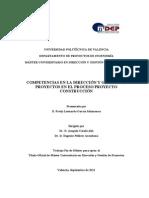 Competencias en La Dirección y Gestión de Proyectos en El Proceso Proyecto Construcción