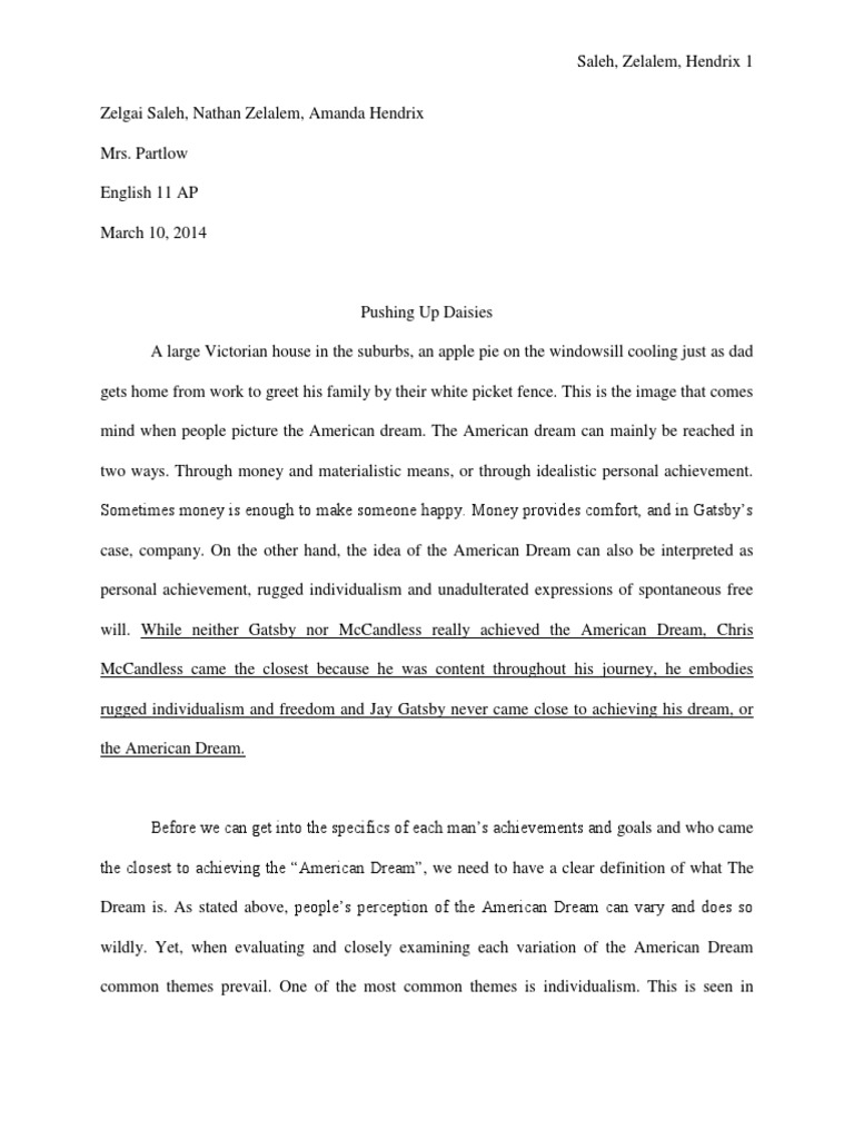 Dramatic Essay Chris Mccandless Essay The American Dream An Essay On The Great Gatsby And  Into The Wild Essays On Water Pollution also 50 Essay Topics Dream House Essay Chris Mccandless Essay How To Write A Rough Draft  Leadership Essays For College