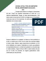 Censo Poblacional Actual Total de Habitantes Existentes Del Departamento de Zacapa