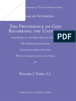 William of Auvergne the Providence of God Regarding the Universe Vediaeval Philosophical Texts in Translation 2007