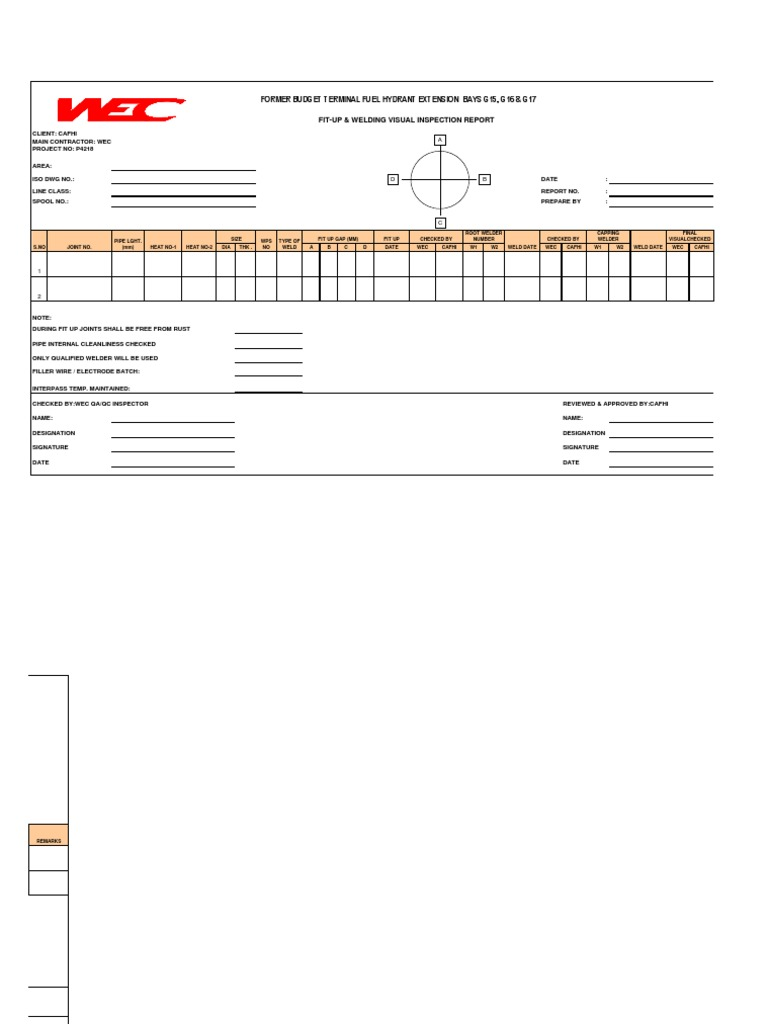 Welder Inspection Diagram Arc Wire Diagrams Hyperbaric Welding Fit Up Visual Report Miller 2e 5