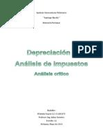 Depreciacion y Analisis de Impuestos. Analisis Critico