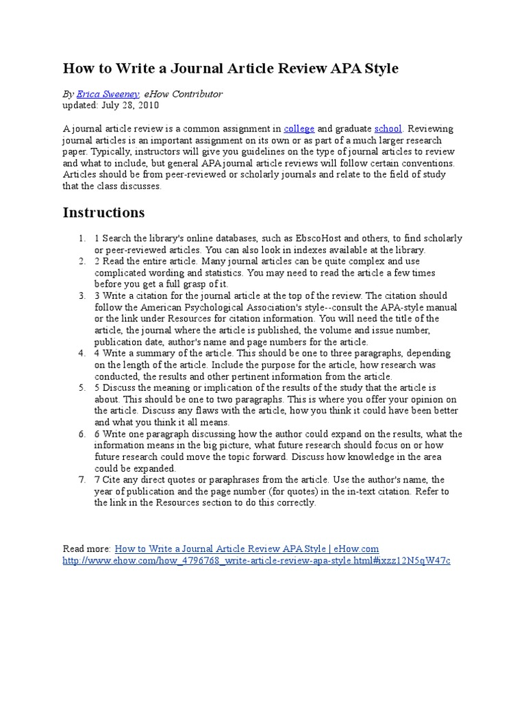 Apa and article review how to write environmental white papers