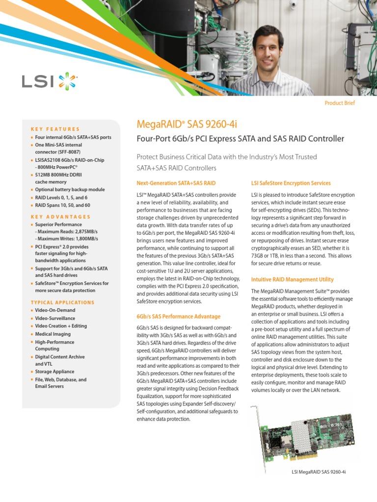 Lsi Megaraid Sas 9260 4i Kit Datasheet Solid State Drive Sata Controller With Encryption Computer Data Storage