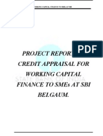 """Credit Appraisal for Working Capital Finance to Small and Medium Enterprises at State Bank of I"