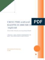 Using The Aahaad Hadith In Issues Of `Aqidah