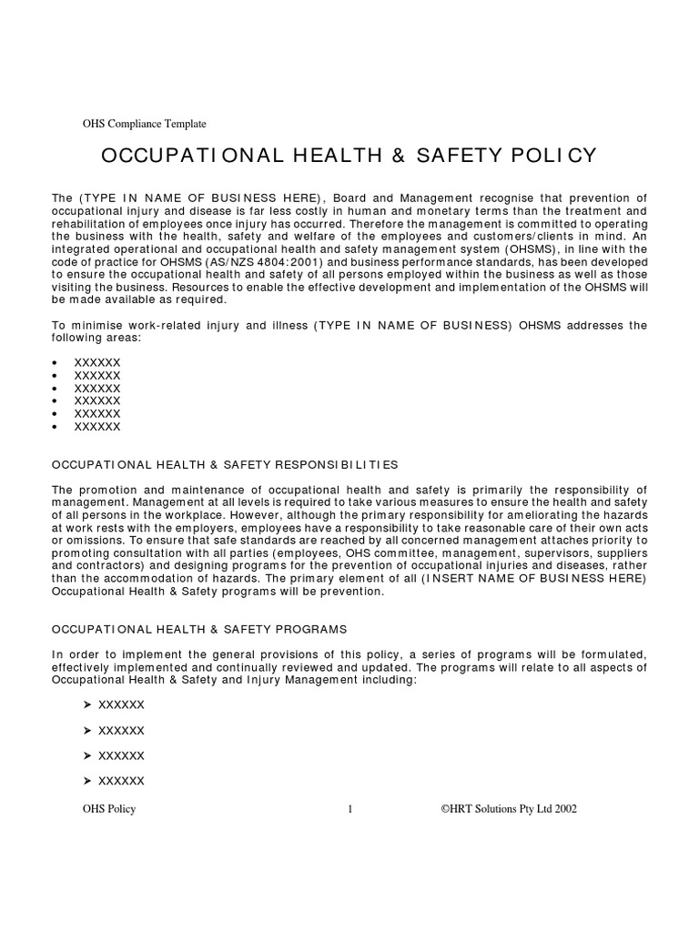 Oh S Policy Template Occupational Safety And Health Safety