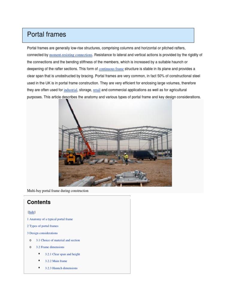 Portal Frames | Framing (Construction) | Structural Engineering