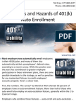 The Merits and Hazards of 401(k) Auto Enrollment