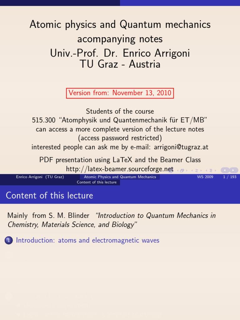 Atomic Physics and Quantum Mechanics | Quantum Mechanics