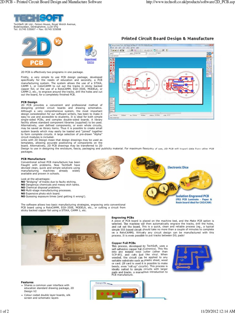 2D PCB ~ Printed Circuit Board Design and Manufacture