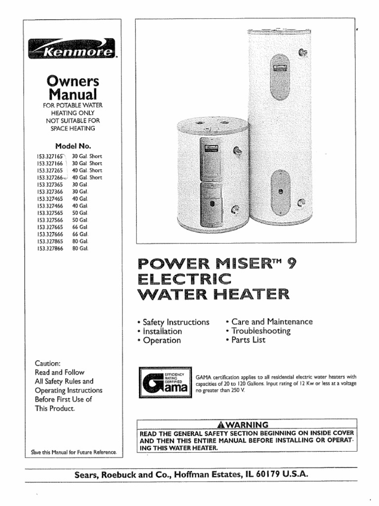 Kenmore power miser 9 153327466 manual water heating valve ccuart Image collections