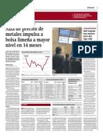 Alza de Precios de Metales Impulsa a BVL a Mayor Nivel en 14 Meses_Gestión 10-07-2014