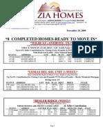 ziahomes inventory list nov 29th, 2009