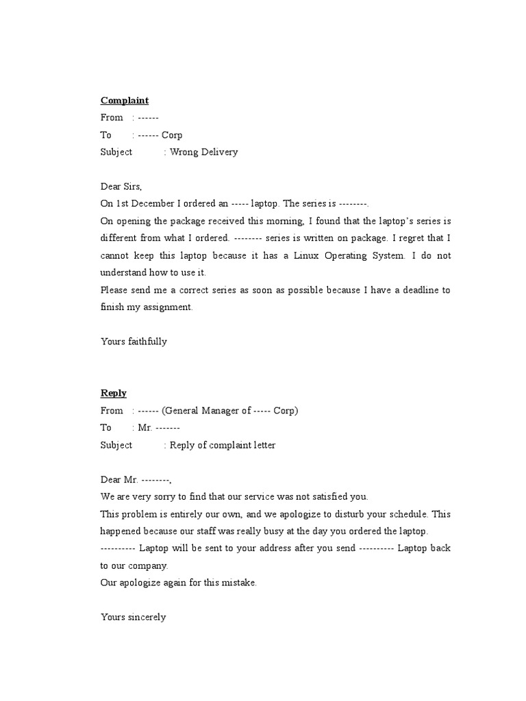 Examples of complaint reply letter spiritdancerdesigns Images