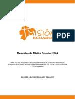 Memorias Mision Ecuador 2004