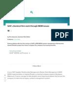 SAP, Chemical Firm Work Through MDM Issues