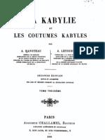 La Kabylie et les Coutumes kabyles 3/3, par Hanoteau et Letourneux, 1893