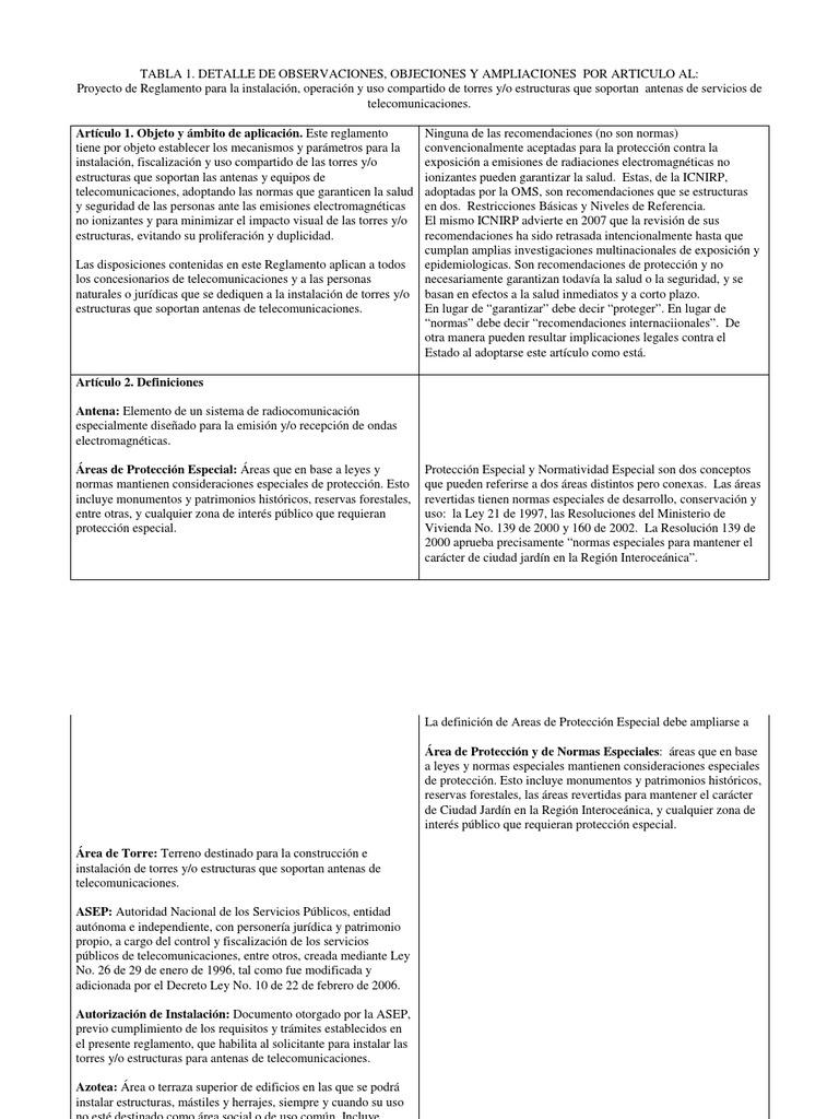 Observaciones Al Proyecto De Reglamento Antenas Radiación