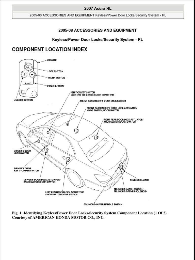 Keyless Entry Automotive Technologies Electrical Connector 2005 Acura Tl Wiring Accessori E
