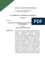 Ley Organica Sobre Sustancias Estupefacientes y Psicotropicas