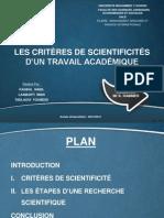 Les Critères de Scientificité
