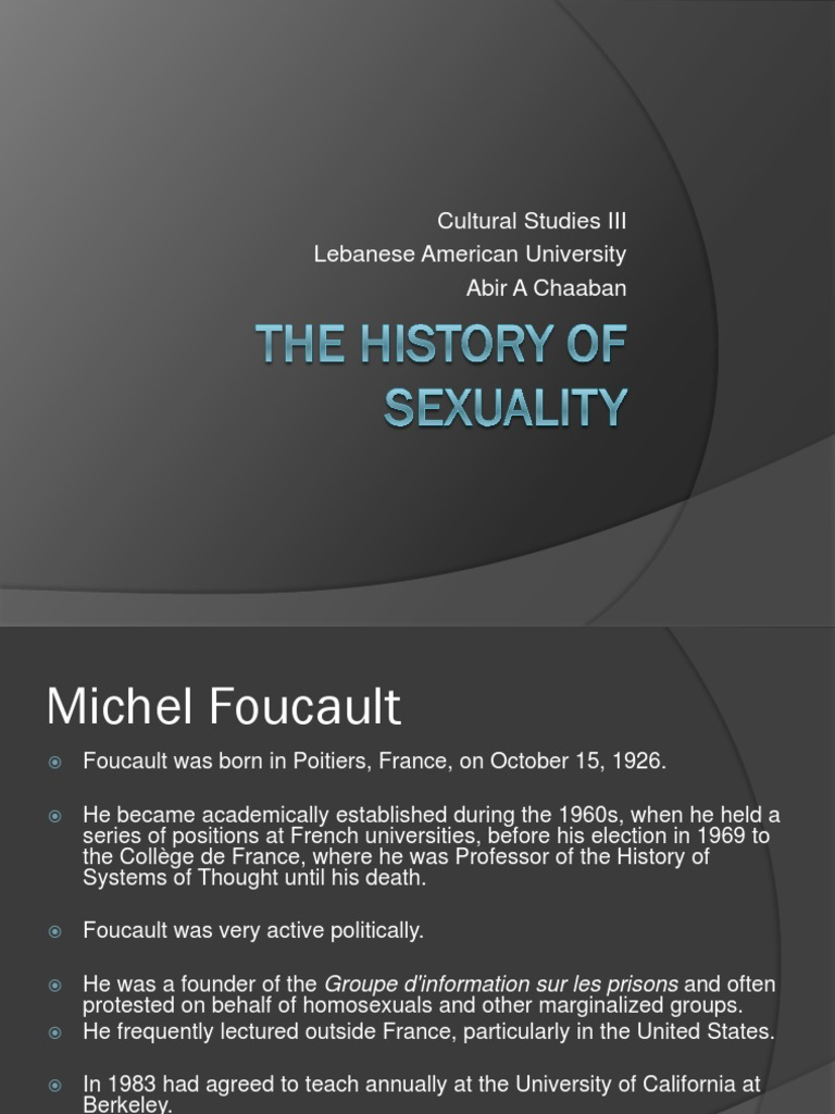 Michel foucault the history of sexuality